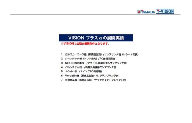 ヤマダ電機店頭ビジョン「Y-VISION」に付随するサンプリングなどのオプショナルメニュー展開実績
