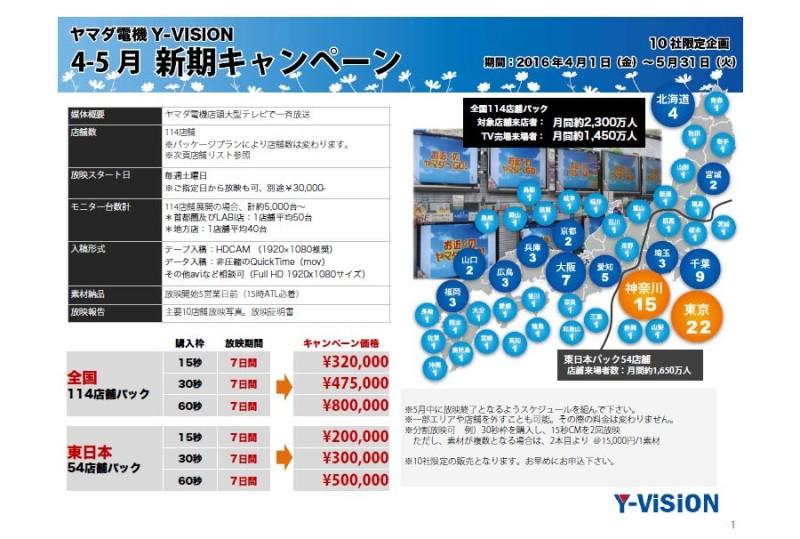 ヤマダ電機店頭大型テレビ『Y-VISION』7日間限定新期キャンペーン資料