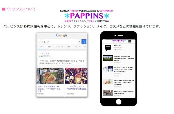 K-POPやトレンド・ファッション、メイクなど韓国カルチャー情報を配信するWEBマガジン「パッピンス」媒体資料